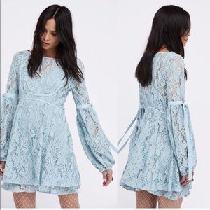 Free People blue lace overlay dress